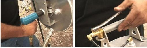 Power Brush Machine housing handles and motors