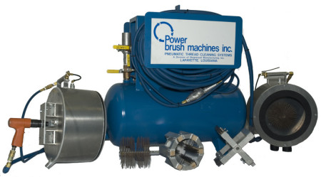 As an owner of a Power Brush Machine system, you'll save time and money! Gone are the days of using messy fluids and wire brushes to clean drill pipe threads, tubing, and casing. The PBM system cleans